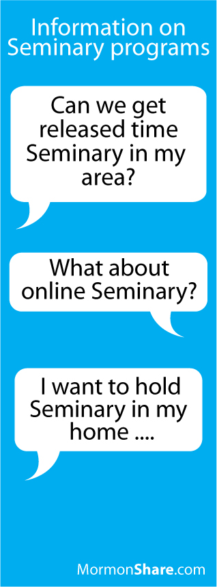 seminary options Information on Seminary Course Options (released time, home study, daily or early morning, and online)