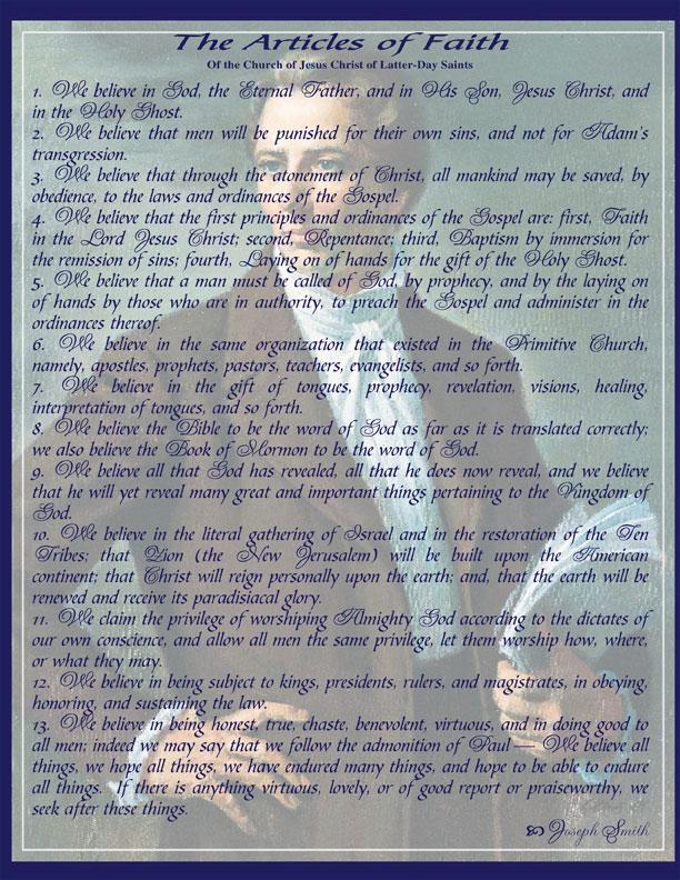 thirteen articles of faith lds