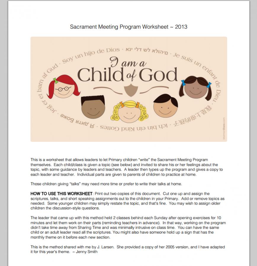 am a Child of God Sacrament Meeting Presentation Worksheet – 2013