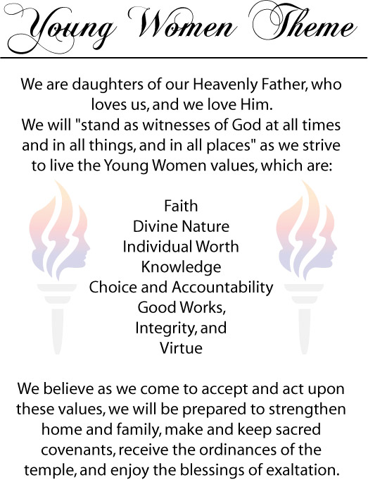 Young Women Theme – Sign | Jenny Smith's LDS Ideas & Bookstore