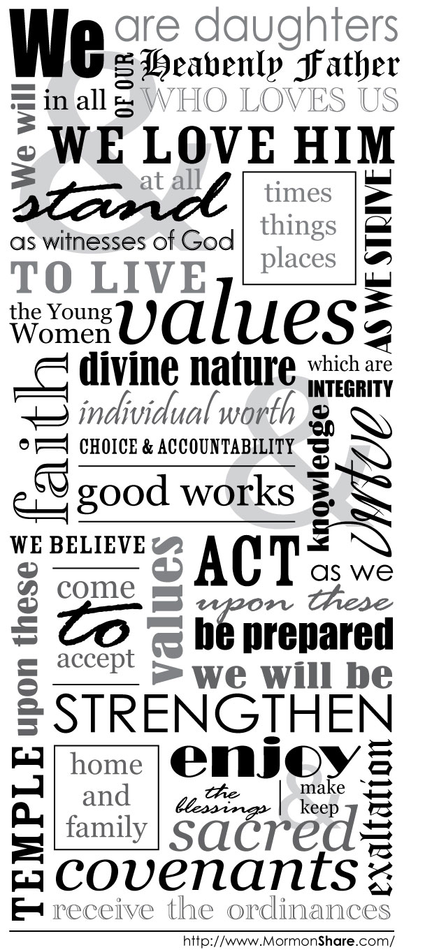 young women theme | Jenny Smith's LDS Ideas & Bookstore