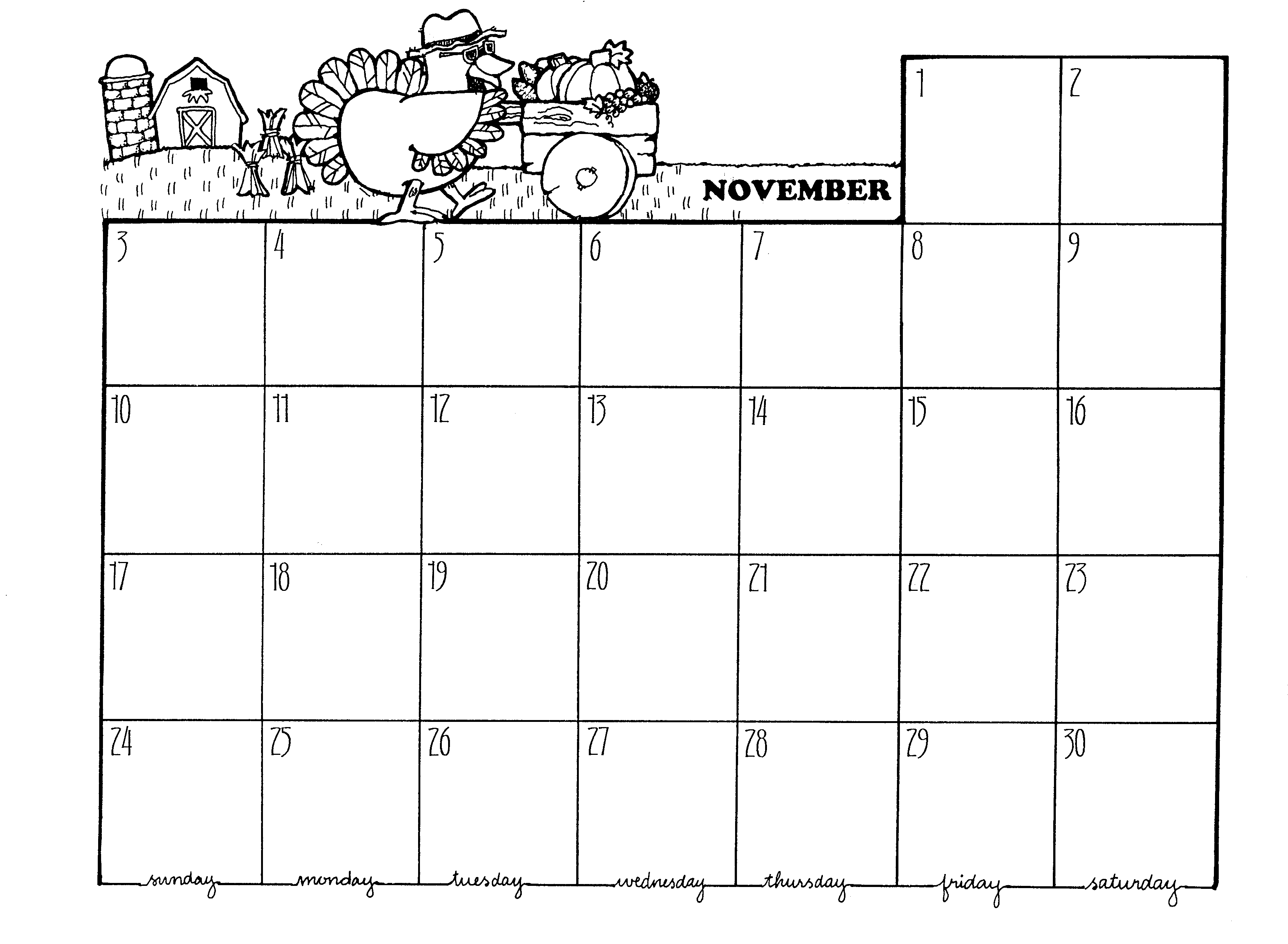 Blank November 2015 Calendar Printable With Turkey | Calendar Template ...