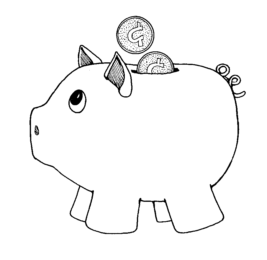 Piggy Bank Black And White Clipart
