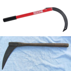 Images of a modern-day and antique corn knife.