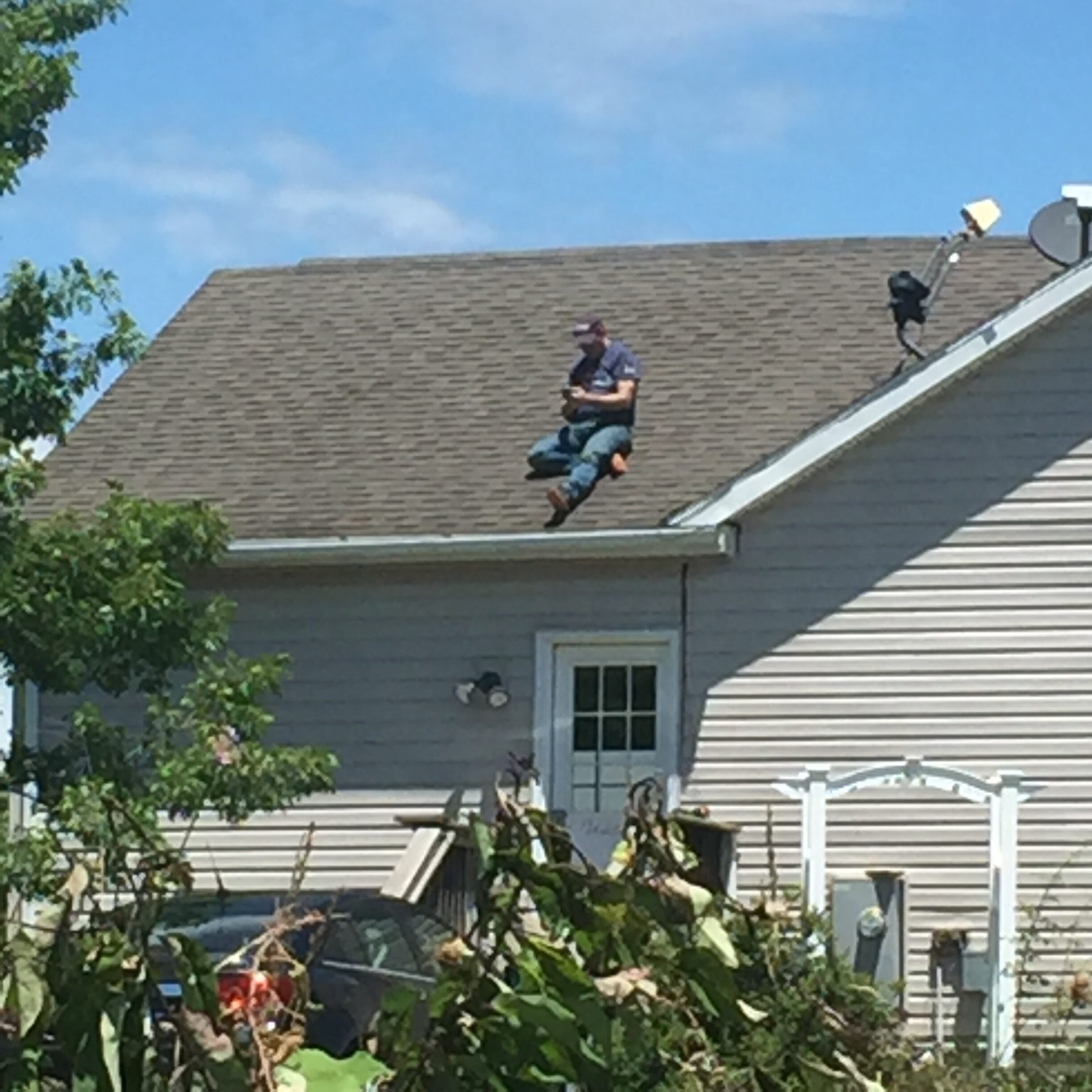 Jared stuck on the roof