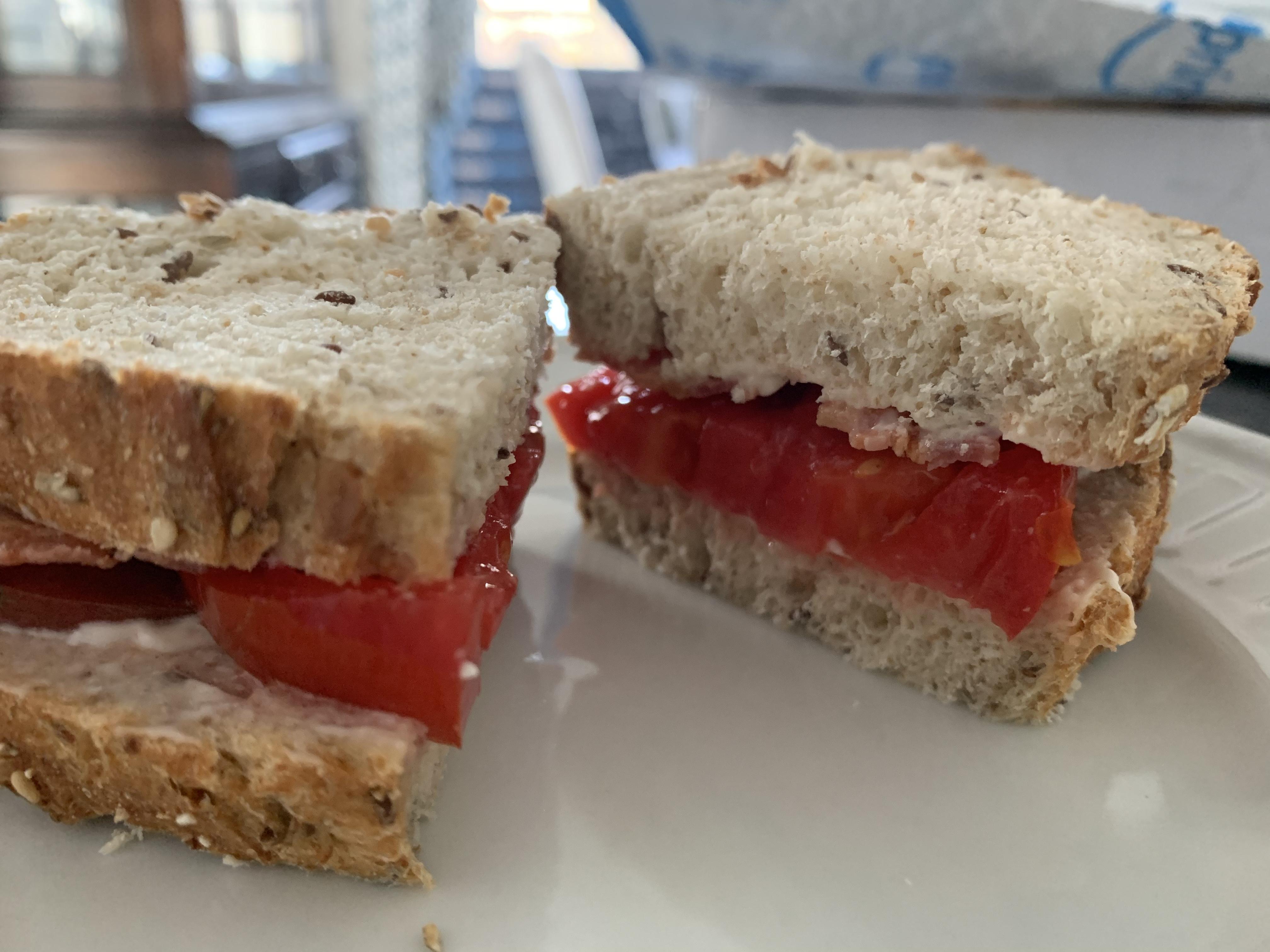 512EF43F 9E94 41FF BB95 1F2BD14394B5 Tomato sandwich