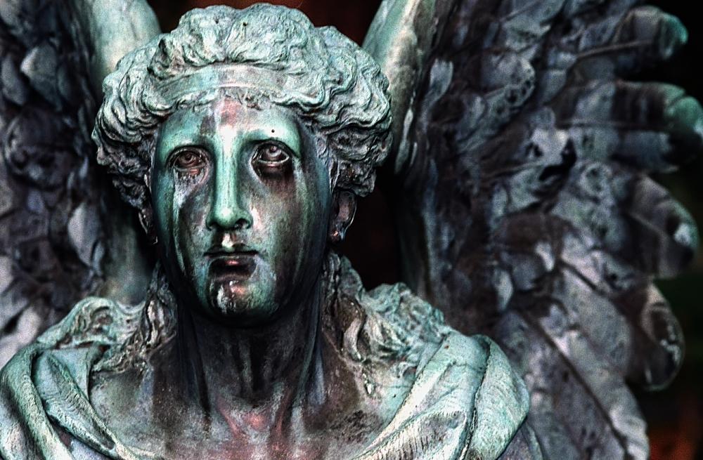 Cincinnati   Spring Grove Cemetery  Arboretum   Weeping Angel statue On prayer